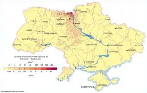 Карта загрязнения 90Sr Украины, 2006 год